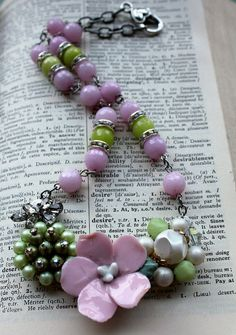 Pink & Green Recycled Flower Assemblage Necklace by belmonili, $48.00