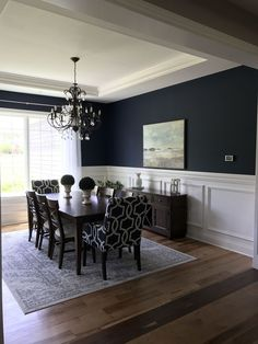 Sherwin Williams naval blue for the walls and sherwin Williams snowbound for the. - Sherwin Williams naval blue for the walls and sherwin Williams snowbound for the trim. Ethan Allen furniture with a arhaus light fixture. Dining Room Blue, Living Room Green, Dining Room Walls, Dining Room Design, Dining Room Furniture, Dining Room Paint Colors, Chic Apartment Decor, Decor Room, Home Remodeling