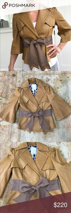 Tracy Reese 100% Leather Trench Jacket Absolutely stunning piece. Uber luxurious and supple leather in tan. Tie at waist for custom fit (can be tied in a knot or bow) Trench coat details and wide 3/4 sleeves. Feminine gathering at shoulders. Fully lined. Special and RARE. Originally $895 Tracy Reese Jackets & Coats Blazers