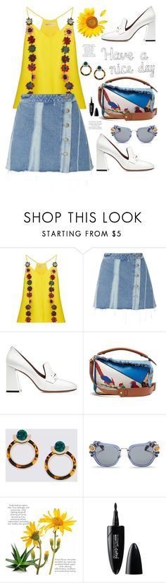 """Have a nice day"" by hamaly ❤ liked on Polyvore featuring Mary Katrantzou, 3x1, Bally, Loewe, Miu Miu, Maybelline, outfit, ootd, trends and MINISKIRT"
