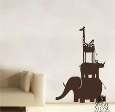 Animal Stack wall decal    www.singlestonestudios.com