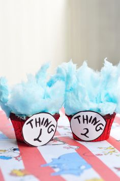Blue Velvet Thing 1 and Thing 2 Cupcakes - The Candid Appetite Thing 1 and Thing 2 - These Dr. Seuss–inspired desserts make for a great rainy day activity—and birthday-party finale. Blue Velvet Cupcakes, Red Cupcakes, Cotton Candy Cupcakes, Blue Cotton Candy, Mini Cakes, Cupcake Cakes, Blue Frosting, 2 Birthday Cake, Blue Food Coloring