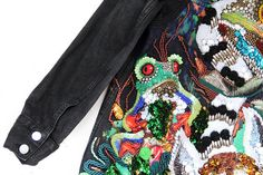 Jeans jacket with hand embroidery Inhabitants of