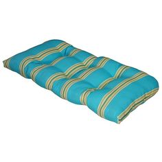 Cabana Stripe Capri Outdoor Settee Cushion (Blue - Rectangle - Polyester), Outdoor Cushion