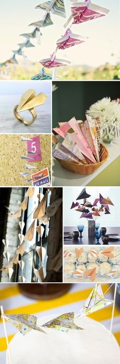 Destination wedding theme.  Paper airplane wedding decorations.