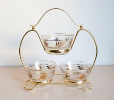Mid Century Libbey Golden Foliage Gold Leaf by TheWildWorld, $23.99