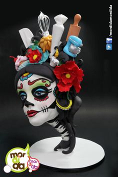 """Dia de Muertos or the """"Day of the Dead"""" is a Mexican religious holiday to celebrate the memory of our dearly departed, it has grown in popularity over the years. One of it's icons is the sugar skull the calaverita made with sugar and decorated. Fondant Cakes, Cupcake Cakes, Cake Cookies, 3d Cakes, Halloween 1st Birthdays, Halloween Cakes, Crazy Cakes, Fancy Cakes, Sugar Skull Cakes"""