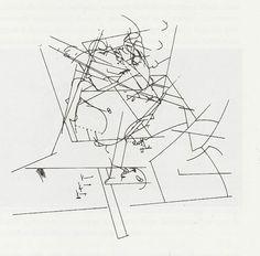 "William Forsythe ""The loss of a small detail"" Choreographic diagram, Frankfurt Ballet, 1991 From: Danse et architecture. Nouvelle de danse 42/43. Editions Contredanse"