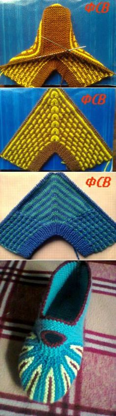 It's this crazy origami of a knit piece. That becomes slippers. Knit the triangle, then pick up side stitches as you knit from the toe. The only seam is at the back of the heel.
