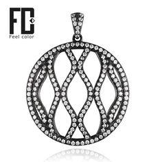 big round wave design pendant genuine 925 sterling silver black gold plated pendant retro dazzling nice valentine gift