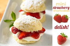 Mini Strawberry Shortcake: Mini shortcakes you could serve to a crowd at a special gathering. Mini Desserts, Delicious Desserts, Dessert Recipes, Yummy Food, Yummy Recipes, Mini Strawberry Shortcake, Canada Day, Mini Foods, Strawberry Recipes