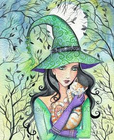 Green Witch and Orange Tabby - by Molly Harrison from All Art Galleries Witch Pictures, Halloween Pictures, Halloween Painting, Halloween Cat, Wicca, Son Chat, Witch Cat, Cat Art, Fantasy Art