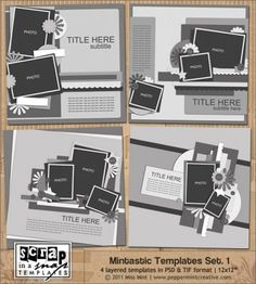 12x12 Layered Templates for Digital Scrapbooking