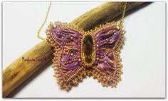 75marghe75 Bead By Bead: Come fare un ciondolo a farfalla con nastro di seta shibori e cristalli. Tecnica Bead Embroidery tutorial