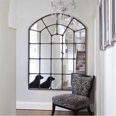 Light up any room in the home with this fabulous large metal framed window mirror. Hang it opposite a door in the hallway or across from a large bay window in the living room to maximise its impact. Hall Mirrors, Hallway Mirror, Living Room Mirrors, Living Room Decor, Large Mirrors, Window Mirror Decor, Arch Mirror, Mirrors Like Windows, Living Area