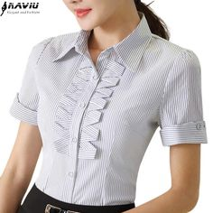 ladies clothing Picture - More Detailed Picture about High qualtiy striped shirt summer work wear slim short sleeve blouse fashion women big size lace tops office ladies clothing Picture in Blouses & Shirts from NAVIU Elegant and Fashion Official Store Cute Blouses, Shirt Blouses, Blouses For Women, Blouse Styles, Blouse Designs, Ladies Shirts Formal, Formal Tops For Women, Summer Work Wear, Camisa Formal