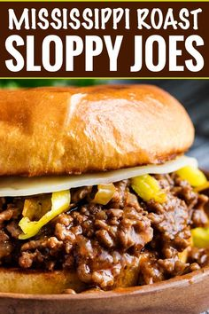 Tangy and savory Mississippi pot roast flavors come together in this quick-cooking sloppy joe recipe! Perfect for a kid-friendly weeknight meal! Easy Dinner Recipes, New Recipes, Crockpot Recipes, Easy Meals, Cooking Recipes, Favorite Recipes, Dinner Ideas, Cheap Meals, Meal Ideas