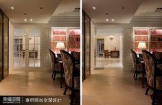 以白色烤漆與清玻璃設計對稱展示櫃,拉開兩個展示櫃的玻璃門片,立時變成區分客廳與餐廳空間的隔間門,是維護主人隱私及不浪費冷氣的聰明設計。