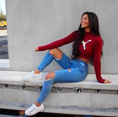 Long sleeve crop top, ripped jeans, and white sneakers | Spring Outfit Ideas for Women and Teens 2018 @EarthBodyMindSoul