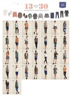 13 to 30 capsule wardrobe with 13 pieces. Great for a young woman packing for a month long trip sightseeing in cities.