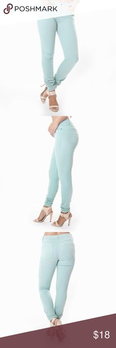 Classic skinny pants in mint Super soft with a great stretch, these Classic Skinny Pants are a guaranteed favorite pair of skinny pants. Mid rise with classic 5 pocket, front zipper & single button closure. These pants run true to size & I recommend ordering your true size as these pants have awesome elasticity. NOTE: They will not bunch up on the bottom like the picture unless you are very short Scarlet Boulevard  Pants Skinny