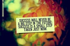 Sucess willl never be a big step in the future; sucess is a small step taken just now.