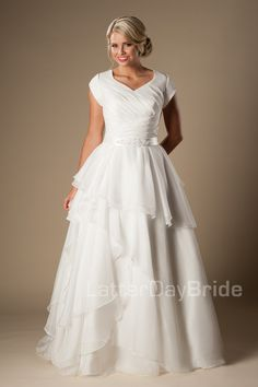 Cheap Modern Short Sleeves Modest Wedding Dresses 2016 Cap Sleeves V Neck Buttons Tiered Organza Bridal Gowns A Line Inexpensive Wedding Gowns As Low As $95.06, Also Buy Wedding Dresses Aline Wedding Dresses Bridal From Totallymodest| Dhgate Mobile