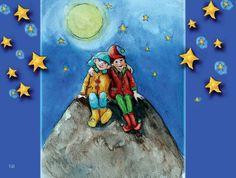 hompeltje en pompeltje. Illustratie uit het liedjesboek 'k zing een liedje voor jou ontwerp wieneke van leyen.  www.dewereldvanwiepje.nl