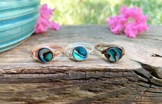 Ocean Jewelry, Shell Jewelry, Abalone Jewelry, Light Ring, Paua Shell, Wire Wrapped Rings, Beaded Rings, Sell Items, Etsy Jewelry
