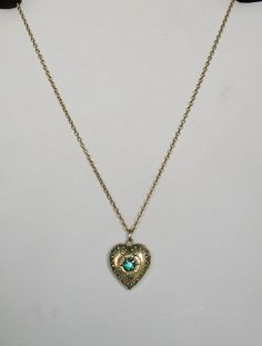 Antique Nouveau Heart Locket Necklace With Green by DarlingJewels