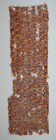 Textile fragment; camelid fibre; fine plain weave; embroidered bird motifs; dark brown, tan and pink. Chancay?  Registration number: Am1954,05.518