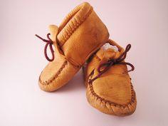 Vintage Leather Baby Moccasins. $20.00, via Etsy.