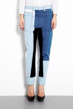 3.1 PHILLIP LIM Chambray Cut Up Surf Trousers - £ 191.58 (was £ 383.17)