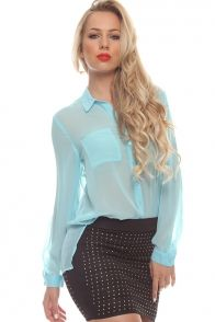 BABY BLUE BUTTON UP SHEER COLLARED LONG SLEEVE CASUAL TOP