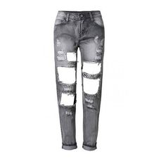 Yoins Skinny Jeans With Shredded and Open Rips ($38) ❤ liked on Polyvore featuring jeans, pants, yoins, white jeans, ripped skinny jeans, white destroyed jeans, stretch jeans and stretch skinny jeans