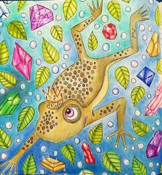 Instagram media xfrogprincessx - #sagolikt #lidehalloberg #coloring #coloredpencil #coloringtherapy #beautifulcoloring #coloringmasterpiece #coloringbook #coloriage #colouring #adultcoloring #fabercastell #frog #frogprince #jewels#fairytail