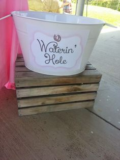 Vintage Cowgirl Birthday Party : watering hole juice box bucket