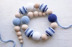 Nursing necklace / Teething necklace - Blue, Light blue, White - Nautical via Etsy.