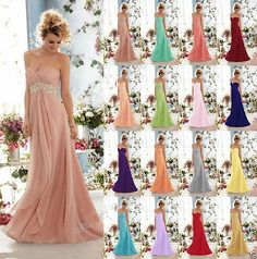 New Long Sequins Chiffon Formal Party Ball Gown Prom Evening Bridesmaid Dress Ball Gowns Prom, Ball Gown Dresses, Prom Dresses, Coral Bridesmaid Dresses, Bridesmaids, Long Evening Gowns, Evening Party, Chiffon, Formal Gowns