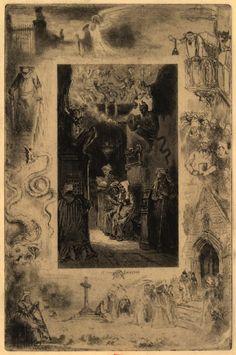 """Felix Buhot Illustration to Alphonse Daudet's """"Le cure de Cucugnan""""."""