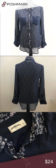 """Abercrombie & Fitch sheer chiffon blouse small Pit to pit 18"""" Sleeve 23"""" Shoulder 14"""" Length 27""""  # can be used for Halloween costume ideas Abercrombie & Fitch Tops Blouses"""