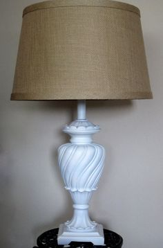 You pick CUSTOM COLOR Large Table Lamp French Cottage Chic Vintage Distressed Customizable Lampshade Hand Painted Annie Sloan Chalk Paint on Etsy, $200.00