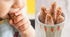 Einfaches Rezept für Knabberstangen bzw. gesunde Babykekse ohne Zucker, die nur aus Dinkelmehl, Öl und Obst bestehen. Ab dem 6. Monat geeignet.