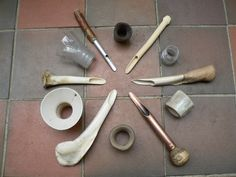 Bee skep making tools, one using elderberry wood- see at 1o'clock the wooden tool
