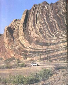 Geologic Folding // Lower Ugab Valley, Namibia Note how some of the layer thicknesses change as you approach the hinge of the fold - could be some deformation happening within the layers as it was folding. In addition look for the vertical crack/fault also near the hinge.