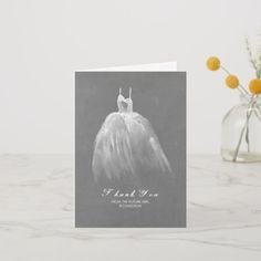Watercolor Dress Vintage Bridal Shower Thank You