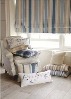 Laura Ashley - Casual Country Collection -  Awning Stripe Seaspray Fabric - Croyde Stripe Seaspray Cushion -  Bluebirds Cushion - Hatherleigh Cushion -  Cranbourne Cushion - Pussy Willow Cushion