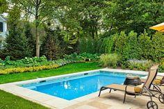 patio trasero con piscina rectangular