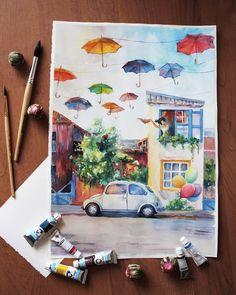 "Die Zeichnung inspirierte die Atmosphäre der Karikatur ""Up"" mit … - Bleistiftzeichnung The drawing inspired the atmosphere of the cartoon ""Up"" with . Watercolor Drawing, Watercolor Illustration, Painting & Drawing, Watercolor Paintings, Art Inspo, Painting Inspiration, Cartoon Up, Pintura Graffiti, Art Sketches"