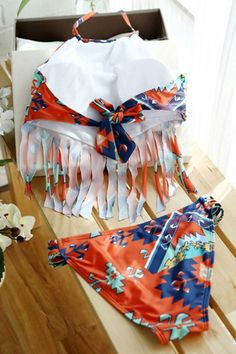 tribal-print-tasseled-halter-neck-top-bikini-set-summer-swimsuits